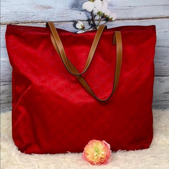 1787ce7921f Gucci Handbags - Authentic Gucci Red Canvas Tote Bag